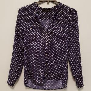 Navy polka-dot blouse
